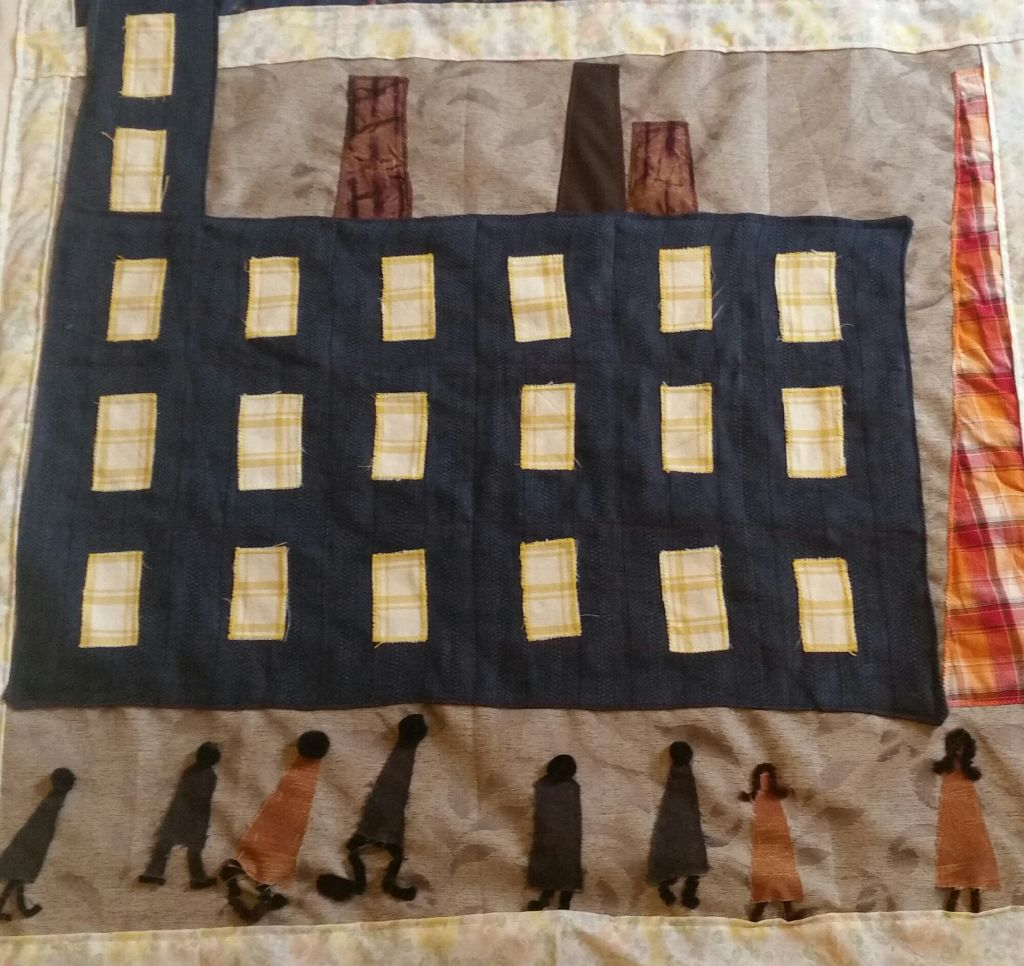 Mrs Gaskell's industrial mills depicted in a LS Lowry style