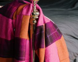 Bold Orange, Hot Pink, And, Purple Tartan, Harris Tweed & Brown Mole Velvet, Patchwork Quilt