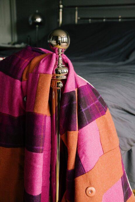 Bold Orange, Hot Pink, And, Purple Tartan, Harris Tweed & Brown Mole Velvet, Patchwork Quilt