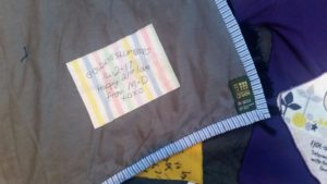 A personalised message on the back of Joe's quilt