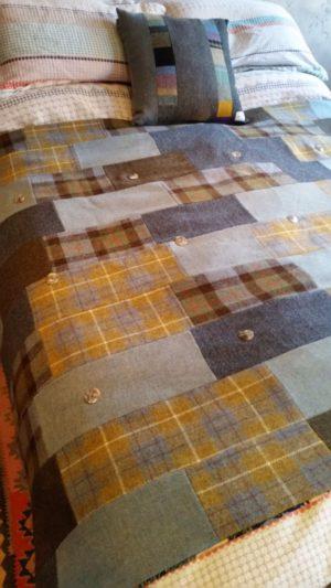Stitched Harris Tweed patchwork quilt top.