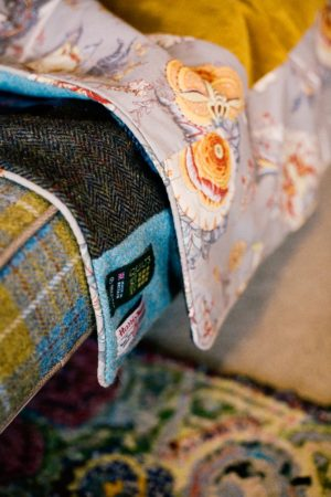 Gorgeous textiles combinations of Sunshine yellow velvet and subtle blues, browns and greys Harris Tweed patchwork quilt £355.00