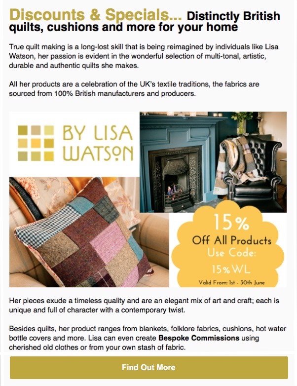 By Lisa Watson special offer for Wolsey Lodges members