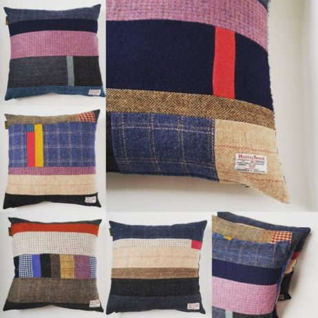 Harris Tweed Patchwork Cushions, 100% British made & One of a kind. Every cushion is distinctive and unique, made up from a combination of all the Harris Tweeds and backed with British Velvet or my Folklore Fabric. Which one will you choose? All my cushions come with a duck filled feather cushion pad, also made in GB! These cushions will compliment any of my Harris Tweed quilted throws-quilted bedspreads-quilts, or look standalone fabulous in any interior scheme. These cushions are a real colour tonic to counteract dreary days.