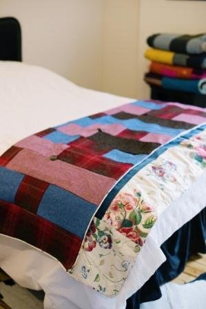 Colefax And Fowler With Blue Azure Velvet And Harris Tweed Quilt
