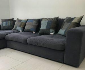 Slate grey, browns&blues Harris Tweed cushions
