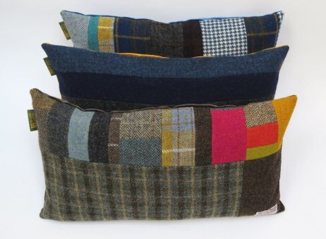 Harris Tweed oblong patchwork cushions