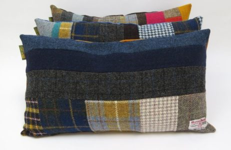 Harris Tweed oblong patchwork cushions. Every one is unique.