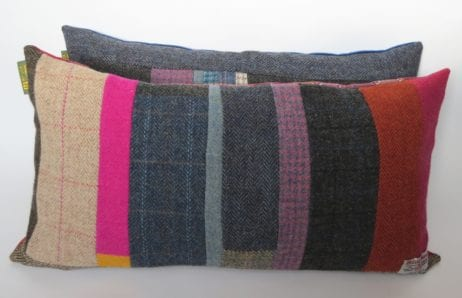 Every cushion is distinctive and unique, made up from a combination of Harris Tweeds I have in stock and backed with either my Folklore Fabrics or British cotton velvet. These cushions will compliment any of my Harris Tweed quilted throws-quilted bedspreads-quilts, or colour pop any interior scheme. Priced from £60-£115 each, (which includes a duck cushion pad, also made in GB) these cushions are a real colour tonic to counteract dreary days.