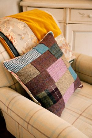 One of a kind 100% British made Harris Tweed Patchwork Cushion
