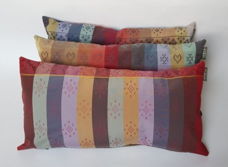 Harris Tweed patchwork cushions now backed by even more delicious colourways and weaves of Folklore Fabric
