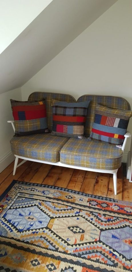 Harris Tweed patchwork cushion commission sent to Canada