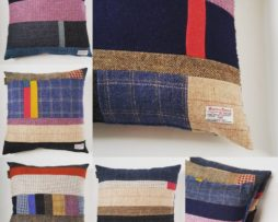 one of kind handmade Harris Tweed patchwork cushions
