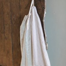 A v.useful Big B&W Drawstring Ticking* Bag, measuring 50 by 60cm, ideal to hold all the flotsam&jetsam from your life.