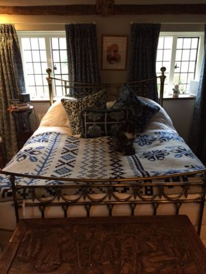 Big Fair Isle woollen blankets styled in a customer's home.