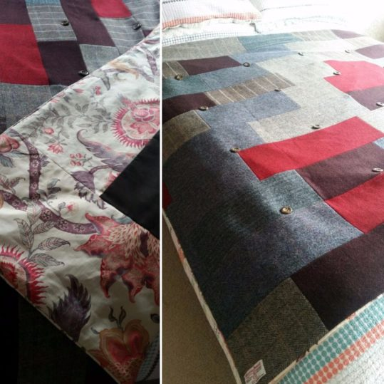 This bespoke Harris Tweed quilt has been commissioned by Asheleigh for her husband's birthday to fit in with the interior of their traditional flint cottage by the Norfolk coast.