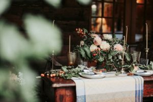 wedding feast with Folklore Fabric tablecloth
