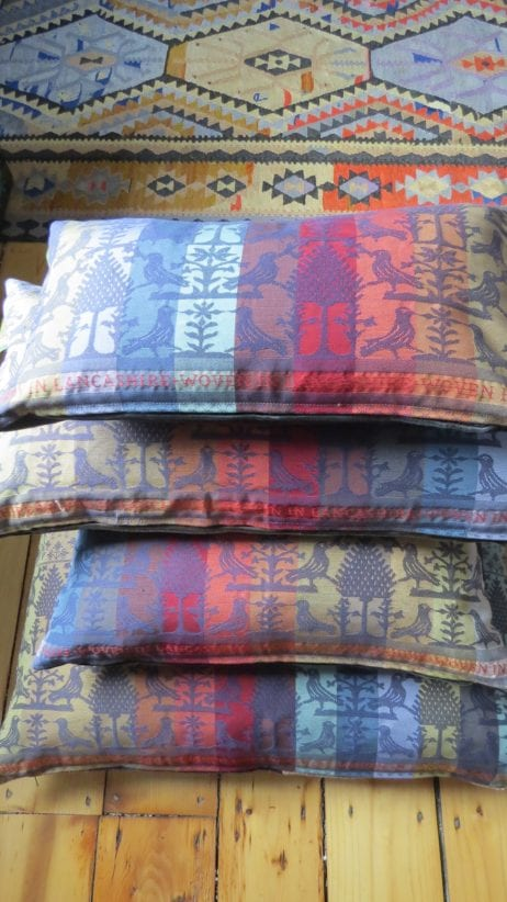 Folklore Fabric cushions are available in several glorious colourways and in four sizes; 70cm square; 50cm square; 60 by 30cm & 45 by 25cm.