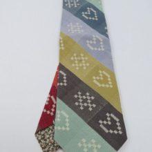 Ecru Heart&Cross(kiss) woven Folklore Fabric Tie.