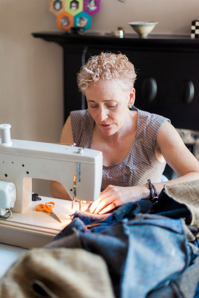 Lisa sewing a bespoke Harris Tweed patchwork quilt