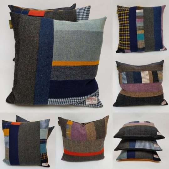 Every cushion is distinctive and unique, made up from a combination of all the Harris Tweeds and backed with British velvet or my Folklore Fabric. Which one will you choose?