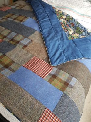 Bespoke Harris Tweed patchwork quilt