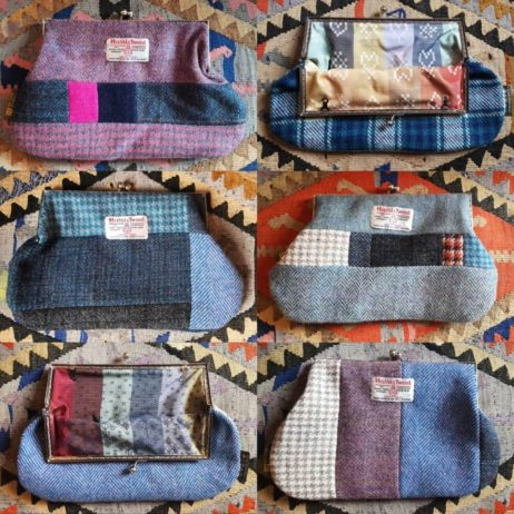 New Harris Tweed patchwork purses now stitched